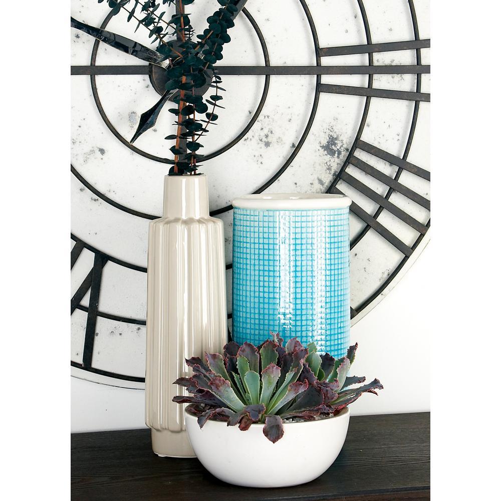 Litton Lane Blue Ceramic Decorative Vase with Raised Grid Design and White Rim