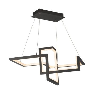 Minecraft 23 in. 385-Watt Equivalent Integrated LED Black Pendant with Acrylic Shade