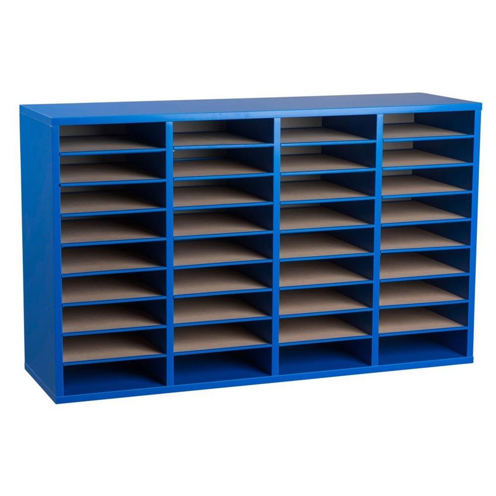 Wood Adjustable 36 Compartment Literature Organizer, Blue