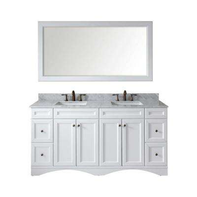 Talisa 72 in. W Bath Vanity in White with Marble Vanity Top in White with Square Basin and Mirror