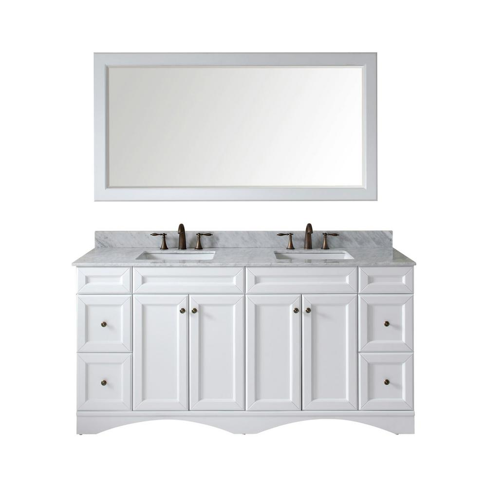 Virtu USA Talisa 72 in. W Bath Vanity in White with Marble Vanity Top in White with Square Basin and Mirror