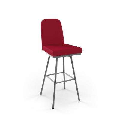 Spoon 26 in. Glossy Grey Metal Red Polyester Counter Stool