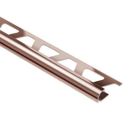 Rondec Polished Copper Anodized Aluminum 1/4 in. x 8 ft. 2-1/2 in. Metal Bullnose Tile Edging Trim