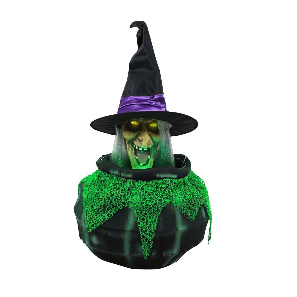 23.9 in. Animated Cauldron Witch with Fog Hose