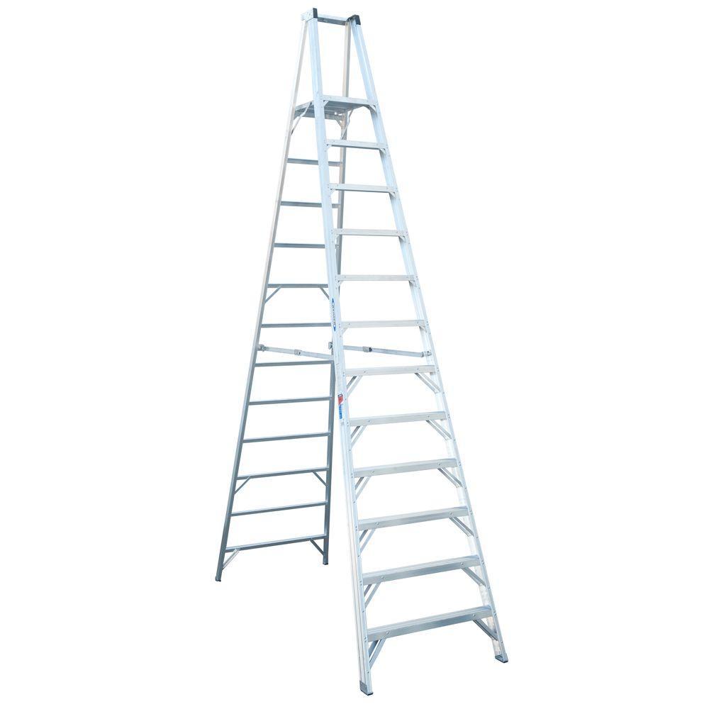 werner 12 ft aluminum platform step ladder with 300 lb load capacity type ia duty rating p412. Black Bedroom Furniture Sets. Home Design Ideas