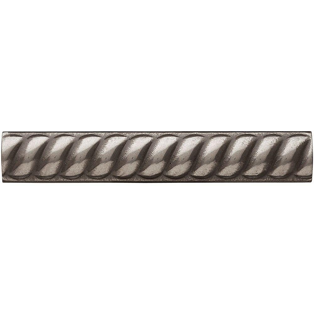Weybridge 1 in. x 6 in. Cast Metal Rope Liner Brushed Nickel Tile (16 pieces / case)