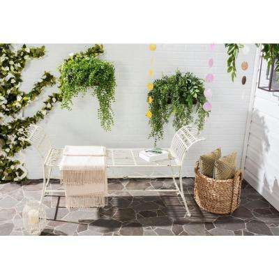Hadley Outdoor Iron Patio Bench in Antique White