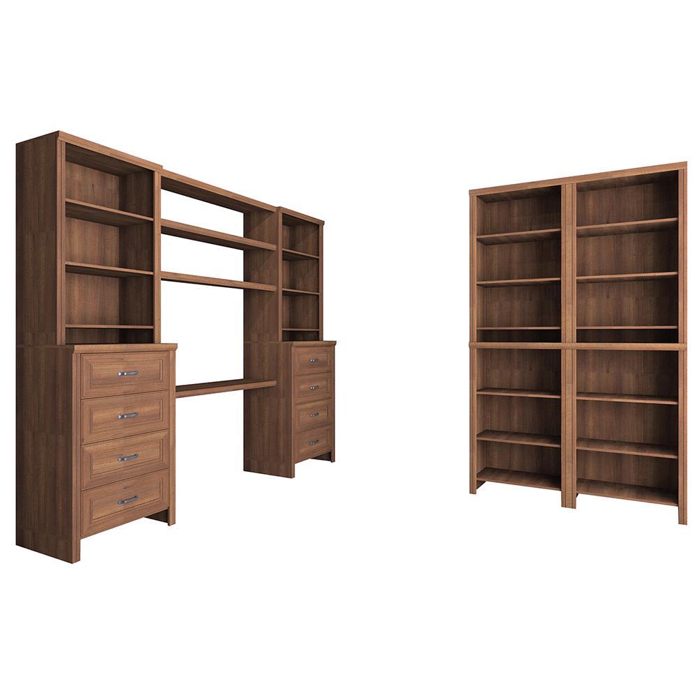 Impressions 19.65 in. D x 148 in. W x 83 in. H 16-Piece Office Laminate Closet System Kit in Walnut
