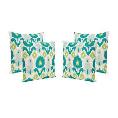 Floral Teal and Green Square Outdoor Throw Pillows (Set of 4)
