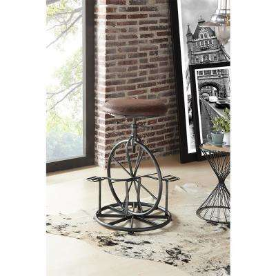 Harlem 26-30 in. Brown Fabric and Industrial Gray Finish Adjustable Bicycle Barstool