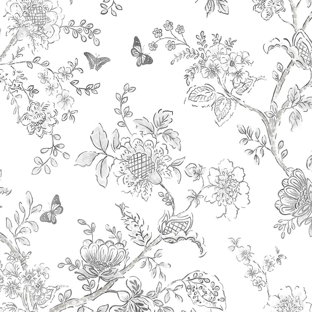 Norwall Butterfly Toile Wallpaper-FH37540