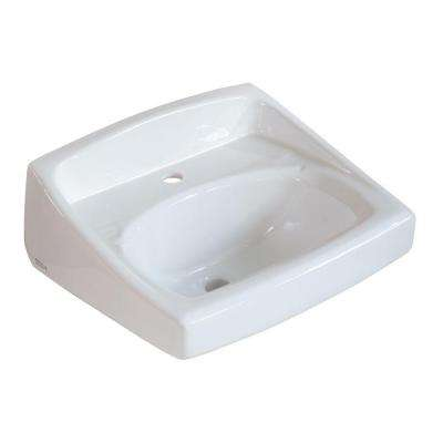 Lucerne Wall-Mounted Bathroom Sink for Exposed Bracket Support by Others with Center Hole Only in White