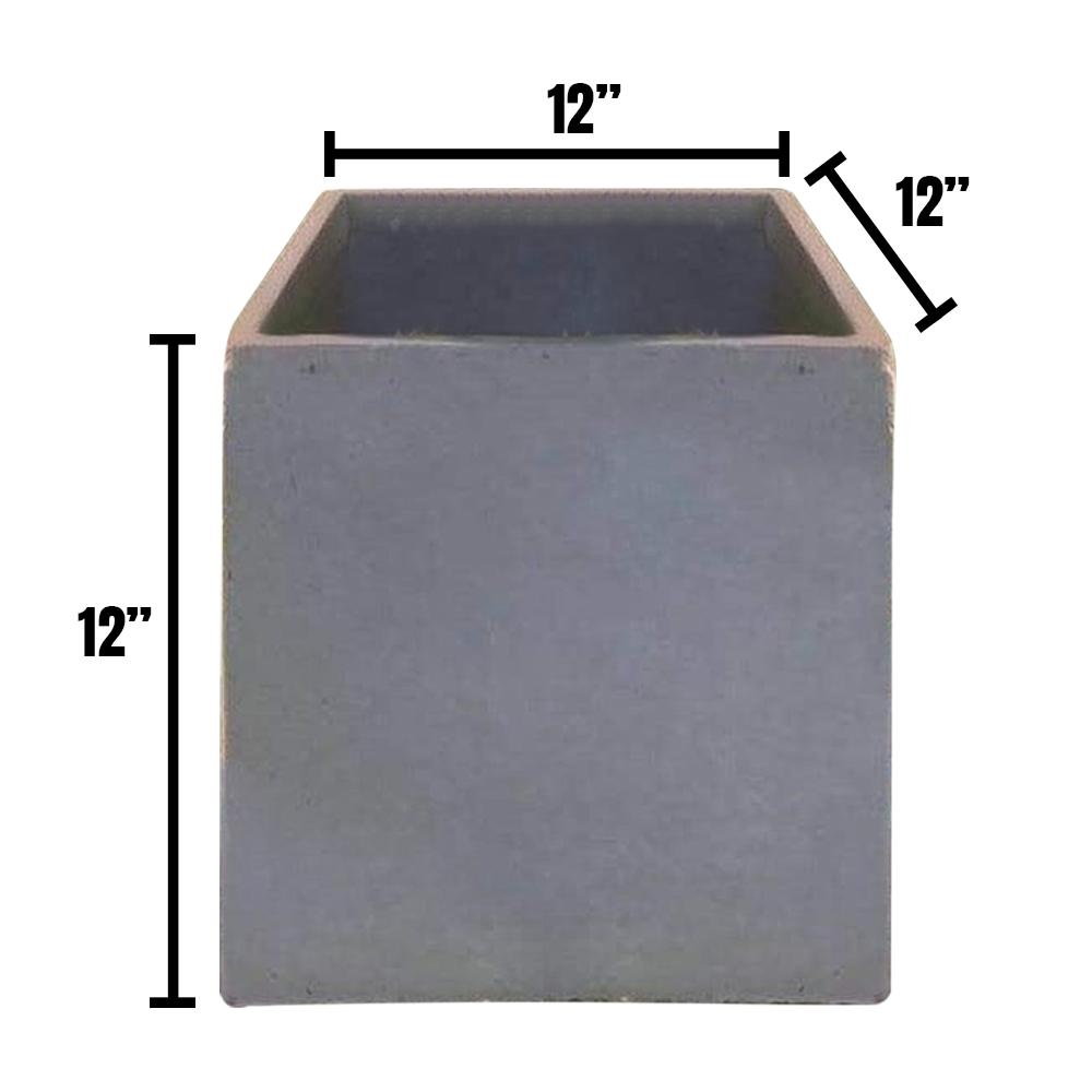 DurX-litecrete Medium 11.8 in. x 11.8 in. x 11.8 in. Cement Lightweight Concrete Modern Square Planter