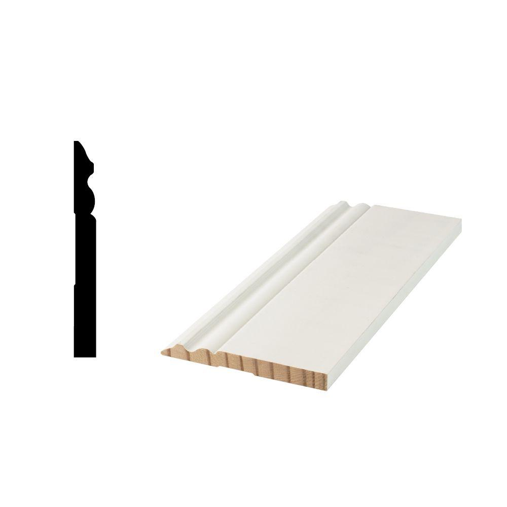Woodgrain Millwork WM 5180 9/16 in. x 5-1/4 in. x 96 in. Primed Finger-Jointed Base Moulding