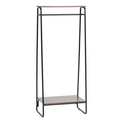 Black and Dark Brown Metal Garment Rack with 2-Wood Shelves