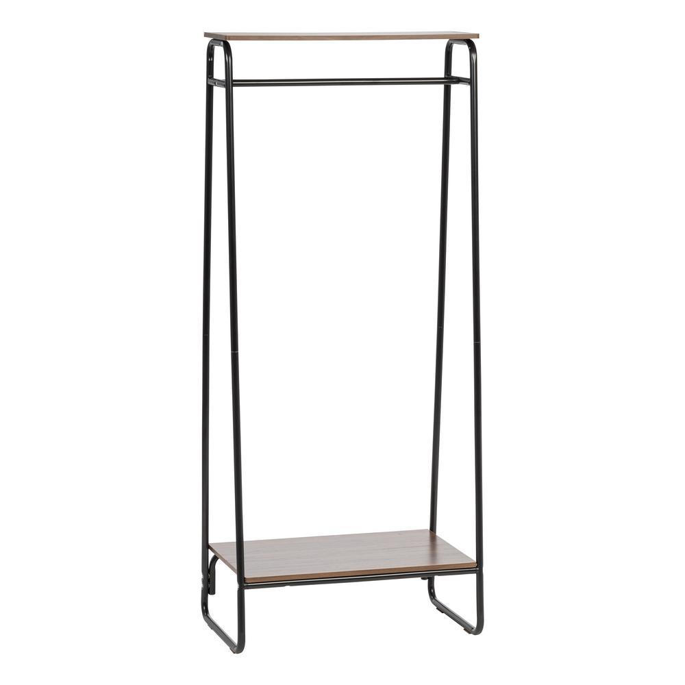 Iris black and dark brown metal garment rack with 2 wood shelves