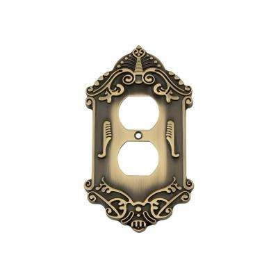 Victorian Switch Plate with Outlet in Antique Brass