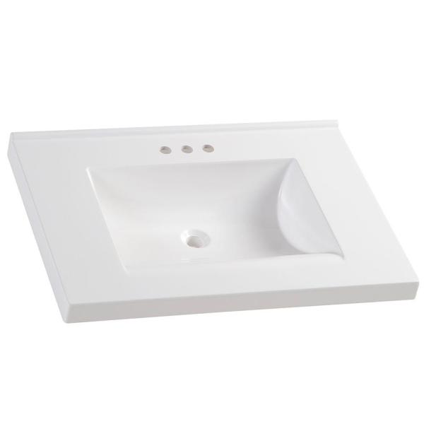 31 in. W x 22 in. D Cultured Marble Vanity Top in White with White Sink