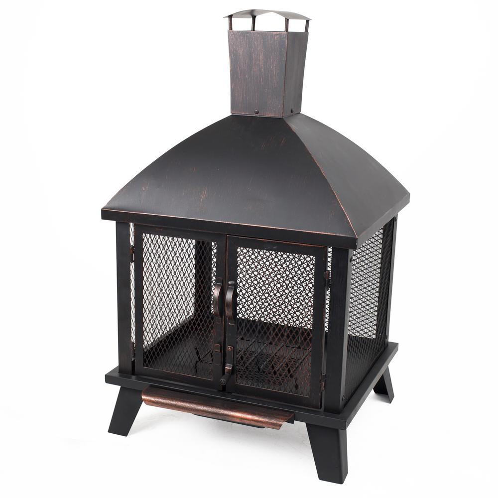 Pleasant Hearth Stratford 22 in. x 43 in. Rectangle Steel Wood Firehouse in Rubbed Bronze with Wood Grate