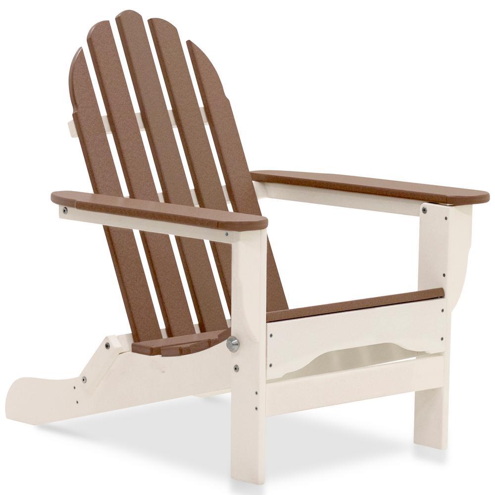Icon White and Teak Plastic Folding Adirondack Chair
