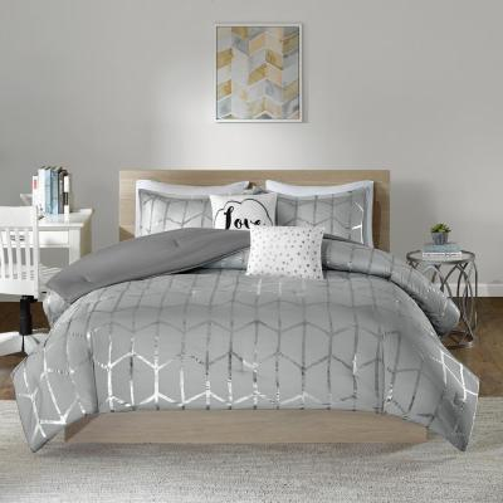 Khloe 5-Piece Grey/Silver Full/Queen Comforter Set