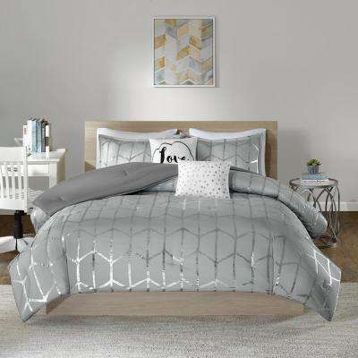Khloe 5-Piece Grey/Silver Full/Queen Comforter Set