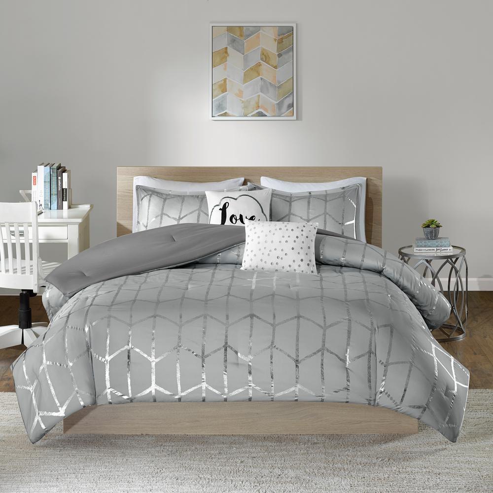 Khloe 4-Piece Grey/Silver Twin Comforter Set