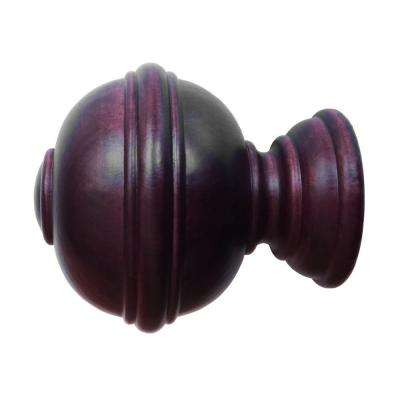 Wood Burger Finial In Antique Mahogany