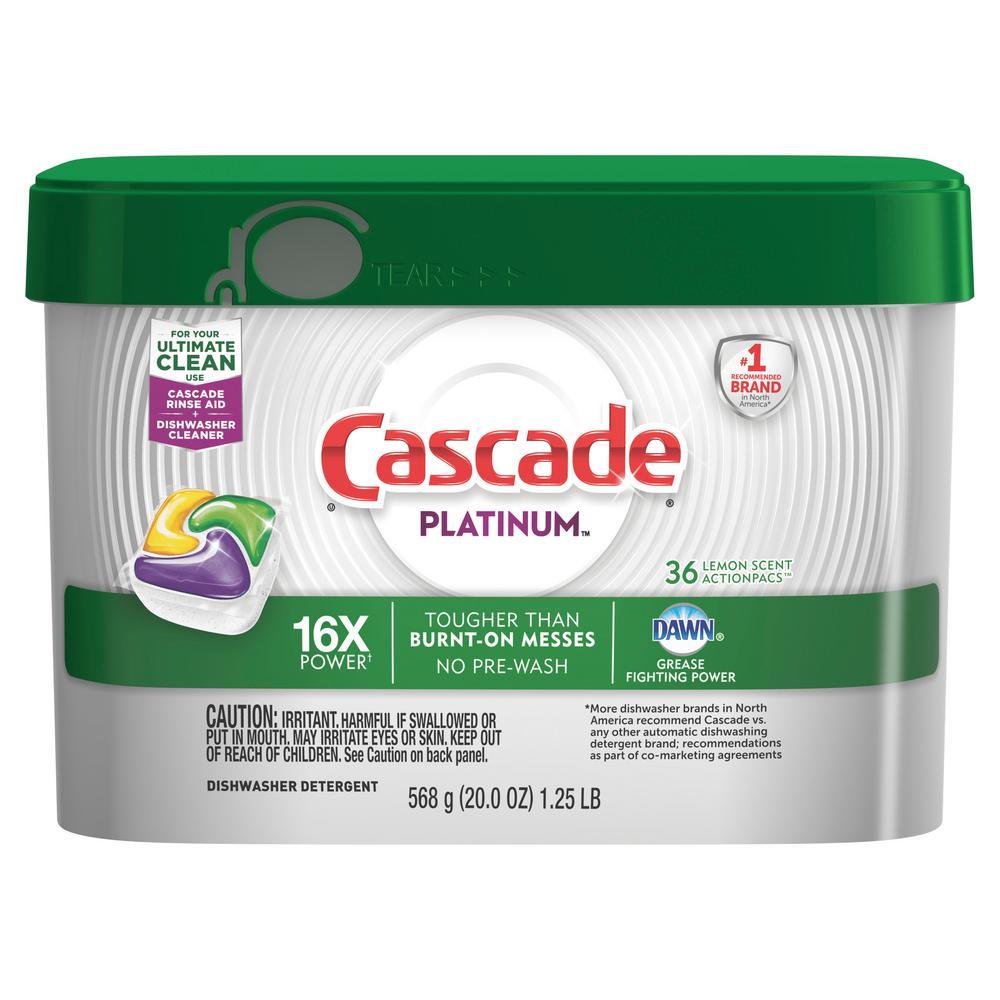 Cascade Platinum Actionpacs Dishwasher Detergent 36 Count
