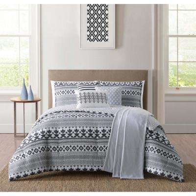Cardiff White and Black King Comforter Set
