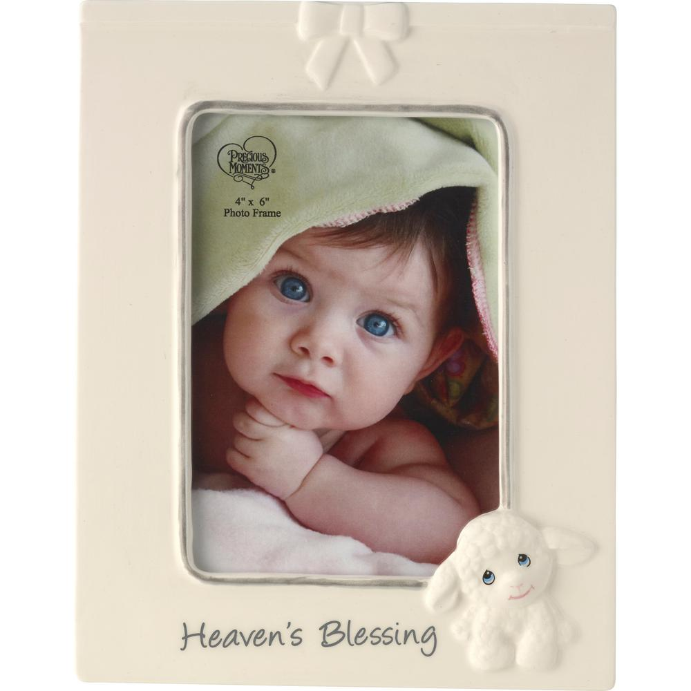 Precious Moments 4 in. x 6 in. Multi Colored Gloss Ceramic Heaven's Blessing Luffie Lamb Picture Frame Adorned with our sweet little Luffie Lamb this lovely ceramic photo frame is just perfect for your favorite 4 in. x 6 in. photo of your precious little blessing from heaven above. Mom and Dad will remember your thoughtfulness each time they see their baby's photo framed by this sweet gift. Pair it with our Luffie Lamb Stuffed Animal A15724 for an adorable gift basket arrangement. Makes a perfect gift for new baby showers baptisms birthdays and Easter, Its an easy way to pretty up gift baskets and looks just lovely on a nursery dresser top. Crafted in ceramic. 8.5 in. H x 6.5 in. W. Holds 4 in. x 6 in. photo. Color: Multi.