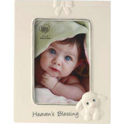 4 in. x 6 in. Multi Colored Gloss Ceramic  Heaven's Blessing Luffie Lamb Picture Frame