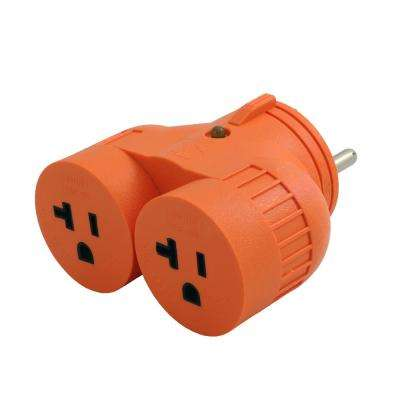 RV/Generator 1 to 2 V Outlet Adapter TT-30P RV 30  Amp Plug to (2) 15/20  Amp Household Connectors