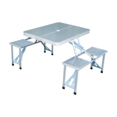 Silver 4-Person Aluminum Portable Folding Suitcase Picnic Table Set with Umbrella Hole and Compact Design