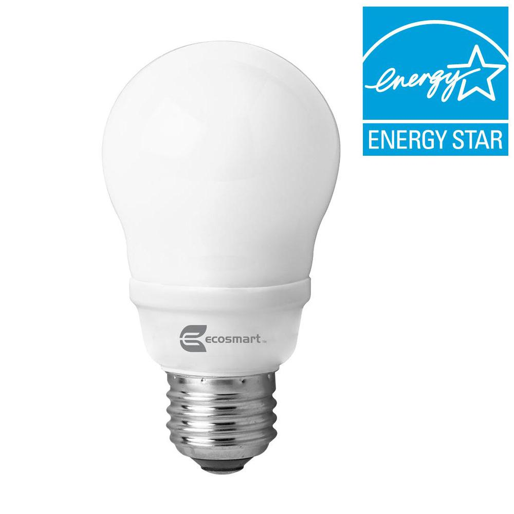 EcoSmart 60W Equivalent Soft White (2700K) A19 CFL Light Bulb (4-Pack)