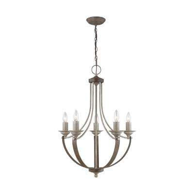 Corbeille 21.5 in. W 5-Light Washed Pine French Country Farmhouse Chandelier with Weathered Iron Straps and Accents