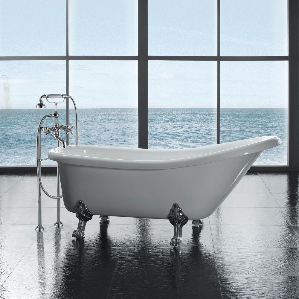 Ove Decors 66 In Acrylic Slipper Shaped Chrome Clawfoot Non Whirpool Bathtub In White And Faucet Clawfoot 66 With Faucet The Home Depot