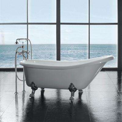 All-In-One 66 in.  Acrylic Chrome Clawfoot Slipper Tub in White
