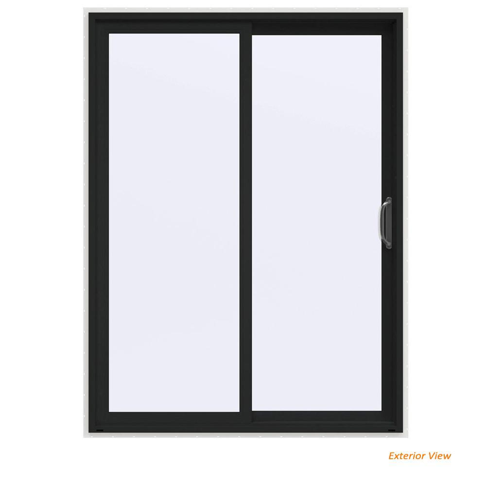 60 in. x 80 in. V-4500 Contemporary Bronze FiniShield Vinyl Right-Hand Full Lite Sliding Patio Door w/White Interior