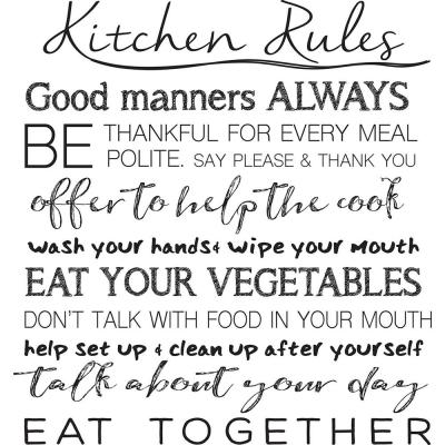 Black Kitchen Rules Wall Quote Decal