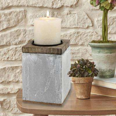 6 in. Cement Pillar Candle Holder