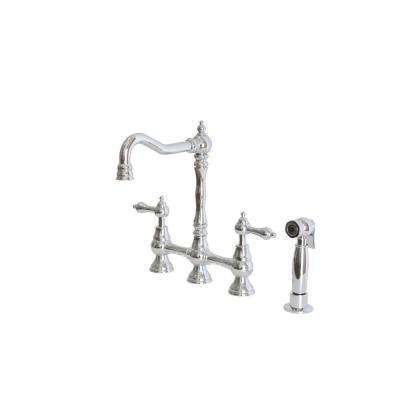2-Handle Bridge Kitchen Faucet with Side Sprayer and Metal Lever Handles in Chrome