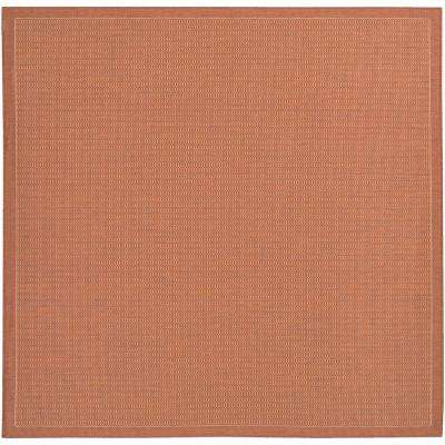 Recife Saddle Stitch Terracotta-Natural 9 ft. x 9 ft. Square Indoor/Outdoor Area Rug