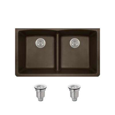 All In One Undermount Kitchen Sink Composite Granite 33 In. Low Divide