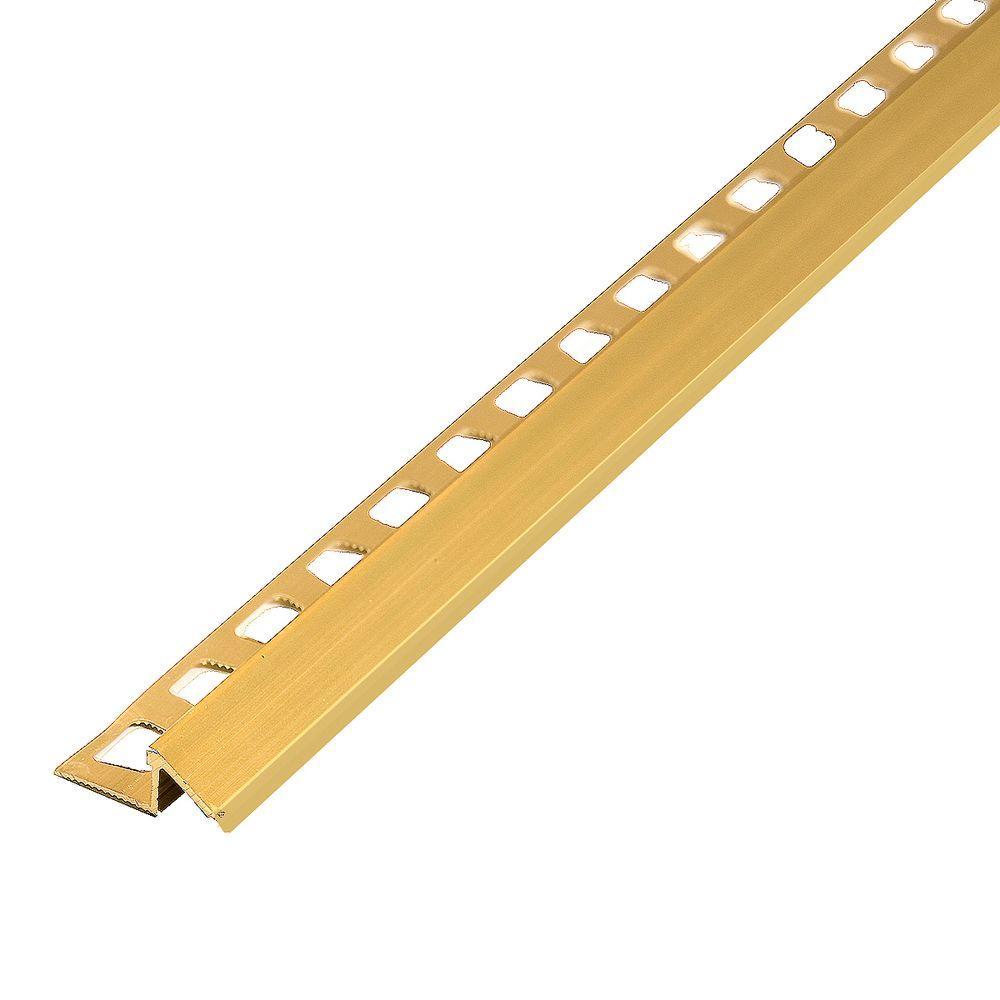Satin Brass 1.5 in. x 96 in. Aluminum Reducer Tile Edging