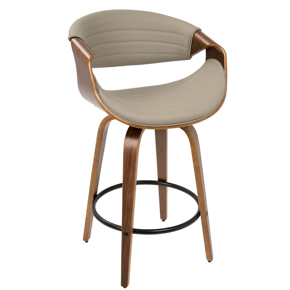 Lumisource symphony mid century walnut and grey modern counter stool faux leather