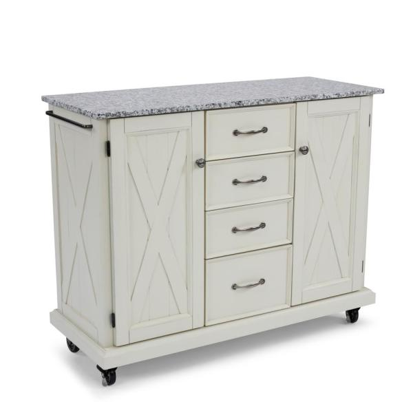 Seaside White Kitchen Cart with Salt and Pepper Granite Top