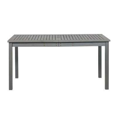 Grey Wash Rectangle Acacia Wood Simple Outdoor Dining Table
