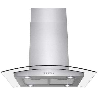 36 in. 343 CFM Convertible Island Mount Range Hood with LEDs in Stainless Steel