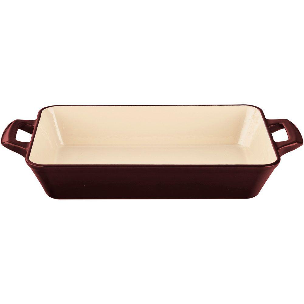Small Deep Cast Iron Roasting Pan with Enamel Finish in Ruby